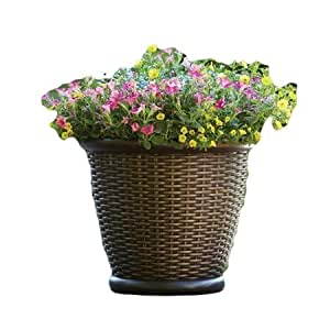 Better Homes And Gardens 18 Faux Wicker Large Indoor Or Outdoor Planter Brown