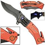 LED Flashlight Tactical Rescue Pocket Knife Firefighter (Color: Red, Black, Tamaño: Pocket Size)