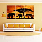 Oil Painting on Canvas Prints Home Wall Decor Landscape Sunset African Savannah Elephants Stretched (no frame)