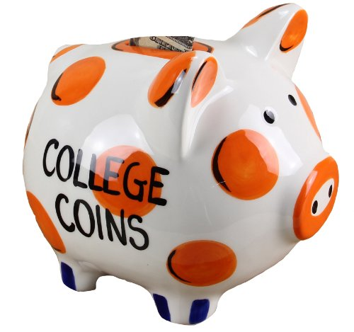 Young's Ceramic Money Piggy Bank, 7-Inch, Orange/Blue
