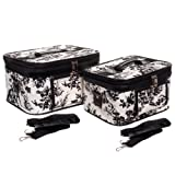 World Traveler French Toile Makeup Train Case 2-piece Cosmetic Set