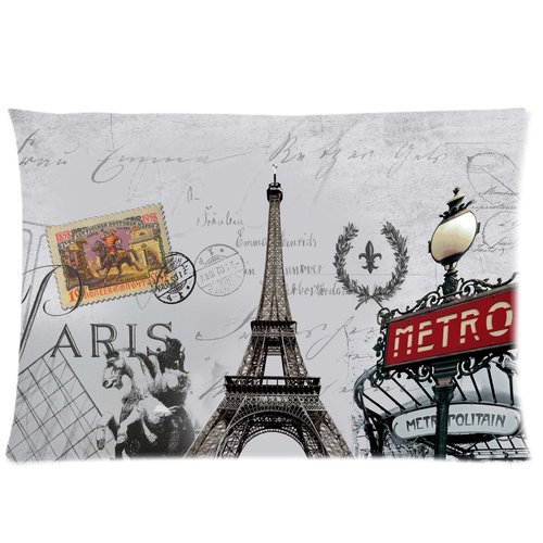 Paris Metro Sign Eiffel Tower Retro Stamp Pattern Custom Zippered Bedding Pillowcase Pillow Cover 20X30 (Twin Sides)