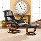 Southern Enterprises High Back Leather Recliner and Ottoman, Black