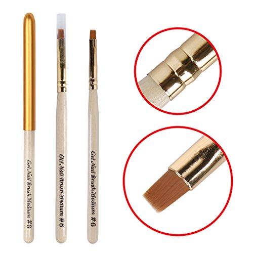 Elite99 Acrylic UV Gel Nail False Tips Builder Brush,No.6 Kit Brush Pen For Soak Off UV LED Gel Nail Polish,Wood Handle Nail Art Tool (Gel Nail Container compare prices)