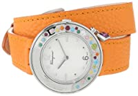 Salvatore Ferragamo Women's F64SBQ90001 S165 Gancino Sparkling White Dial Rotating Bezel with Multicolor Gems Sapphire Crystal Watch by Salvatore Ferragamo
