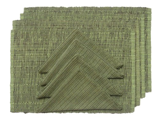 Foreston Trends Amati 4 Piece Placemat And Napkin Set Green Of 8