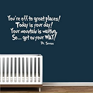 Amazoncom dr seuss book quote vinyl wall decal white for Nice white wall decal quotes
