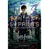 "Harry Potter & The Deathly Hallows Part 2 Signed PP Cast Daniel Radcliffe Emma Watson Rupert Grint Gary Oldman Helena Bonham Carter Alan Rickman 12x8"" Poster Photoby Harry Potter"