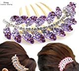 happyliya® Purple Rhinestone Crystal Branch Leaves Hair Clips Tool Comb For Girls Womens Fashion