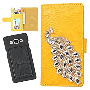 DooDa PU Leather Wallet Flip Case Cover With Rhinestone Peacock in Front And Card & ID Slots For Gionee Gpad G1 - Back Cover Not Included Peel And Paste