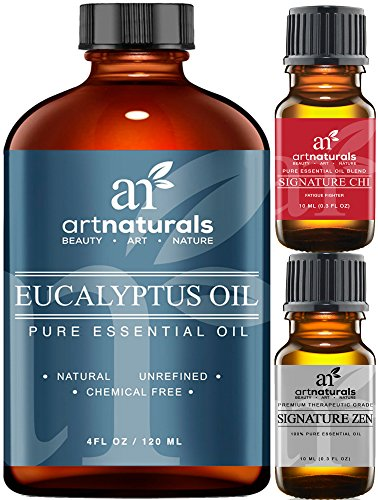 Art Naturals Eucalyptus Essential Oil 4.0 oz 3pc Set - Includes Our Aromatherapy Signature Zen & Chi Blends 10ml Each Therapeutic Grade 100% Pure & Natural Oils (Eucalyptus Oil For Steam Room compare prices)