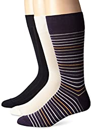 Cole Haan Men\'s 3 Pack Grounded Stripe Crew Socks, Nightshade, 10-13/Shoe Size 6-12