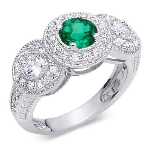 Revoni Bold & Beautiful 0.75 carat Round Shape Checker Board Created Emerald & White CZ Size P Gemstone Ring in Sterling Silver Rhodium Finish