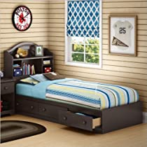 Hot Sale South Shore Summer Breeze Collection Twin 39-Inch Mates Bed, Chocolate