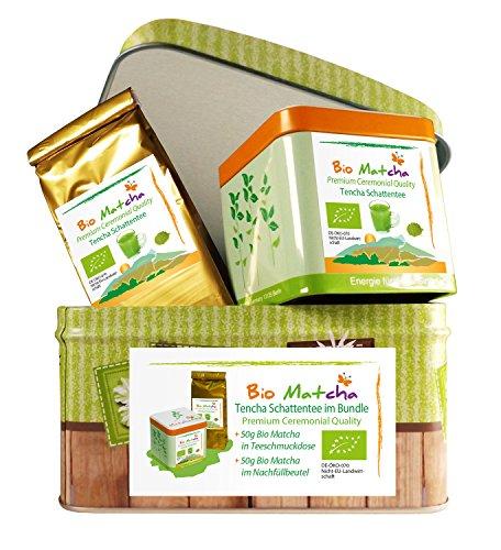 BIO-MATCHA-SET-100g-Organic-Matcha-Tee-Pulver-im-Ceremonial-Grade-handgepflckt-auf-Stein-gemahlen-feingemahlener-Tencha-Schattentee-im-Geschenk-Bundle-Alternativer-Kaffeeersatz-mit-EGCG