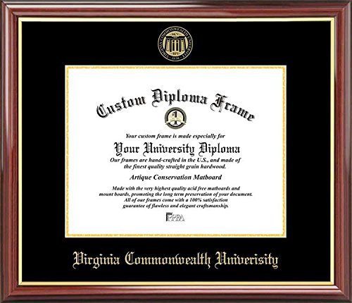 Virginia Commonwealth University Rams - Embossed Seal - Mahogany Gold Trim - Diploma Frame