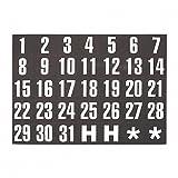 "Magnetic Board Magnets, Dates, 1""x2"", White on Black, 31/Set MAVFH37"
