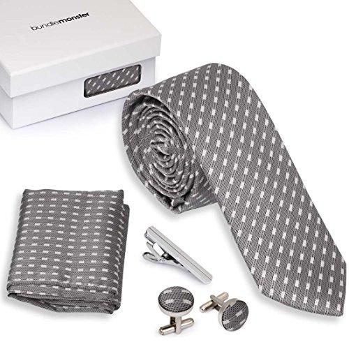 Bundle Monster 4pc Matching Design Pattern Mens Suit Fashion Accessories Set - Dashed Gray