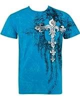 Sakkas Fleur de Lys Croix En relief argent métallique Manches courtes Col rond Coton T-Shirt Fashion homme