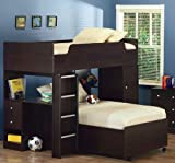 Twin Size Loft Bunk Bed with Desk in Cappuccino Finish