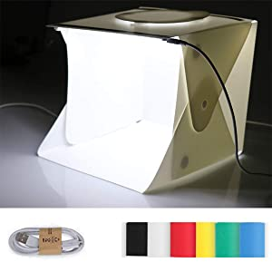 ROSEBEAR Mini Photo Studio Box, Portable Photography Shooting Light Tent Kit, Small Size Folding Lighting Softbox with Dual 20 LED Lights + 6 Backdrops for Product Display (Color: colorful, Tamaño: 24*23*22cm)