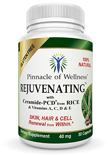 "Rejuvenating Phytoceramides – Best All Natural Anti Aging Skin Care – Daily Moisturizer for Women and Men – Simple Hydrating & Anti Wrinkle Gluten Free Beauty Product Supplement in Capsules Derived from Rice that is Clinically Proven Far Superior to 350 mg Lipo Wheat or Sweet Potato – The Smart Choice for Smoother Healthier and Younger Skin, Nails and Hair – Highest Quality Source of Ceramides and Antioxidants with All the Right Ingredients – Vitamins A, C, D & E in one pill that Works from the Inside Out – Say Good Riddance to Dry Skin and Reduce Fine Lines & Wrinkles! – BONUS – 5 ""Must Read"" Skin Care eBooks with Your Order! A $37 Value Absolutely FREE – Buy with Confidence – 90-Day Money Back Triple Guarantee!"