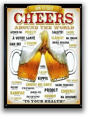BEER★ビールで乾杯(CHEERS AROUND THE WORLD)★アメリカンブリキ看板