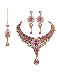 I Jewels Traditional Gold Plated Kundan Necklace Set With Maang Tikka For Women(Rani/Dark Pink)(K7017Q)