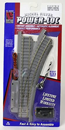 Life-Like Trains Power-Loc   HO Scale Track - Right Hand Remote Control Switch, Nickel Silver