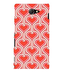 EPICCASE Pink Hearts Pattern Mobile Back Case Cover For Sony Xperia M2 (Designer Case)