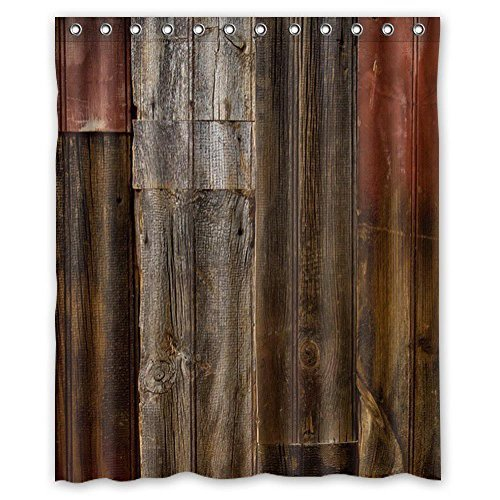 I-Manggo High Quality Mouldproof Bath Curtain Print Vintage Rustic Brown Faux Wood Shower Curtains Waterproof 0