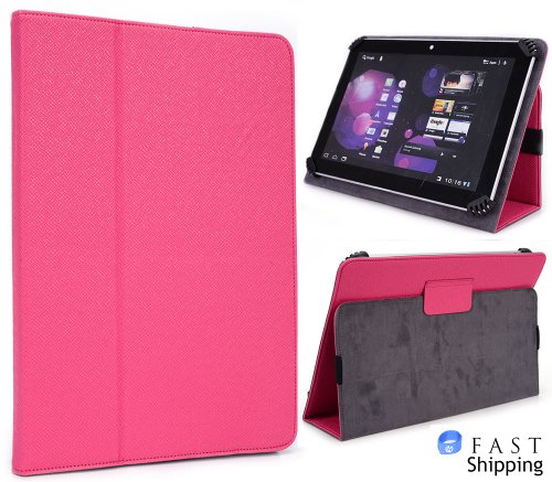Hot Pink ( Magenta ) All-inclusive Book Style Cover Case with Built-in Affirm [Accord Series] for Kocaso MID-M9000 9 inch Tablet + EnvyDeal Velcro Line Tie
