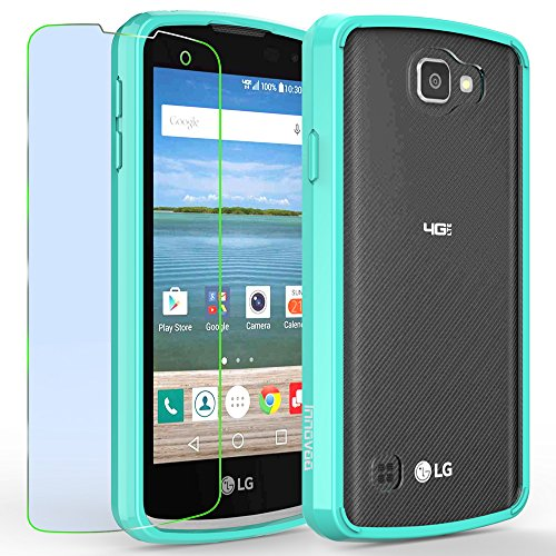 LG Optimus Zone 3 / K4 / Spree Case, INNOVAA Luminous Crystal Clear Series Bumper Case W/ Free Screen Protector & Touch Screen Stylus Pen - Teal