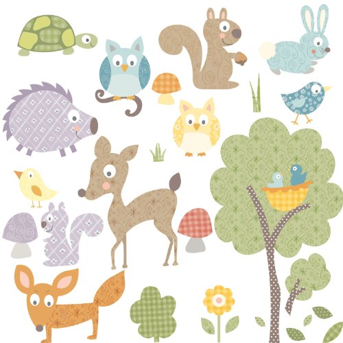 RoomMates RMK1398SCS Woodland Animals Peel & Stick Wall Decals