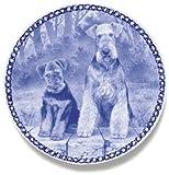 デンマーク製 ドッグ・プレート (犬の絵皿) 直輸入! Airedale Terrier / エアデール・テリア