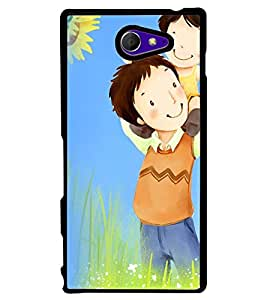 Printvisa Father Daughter In A Field Back Case Cover for Sony Xperia M2 Dual D2302::Sony Xperia M2
