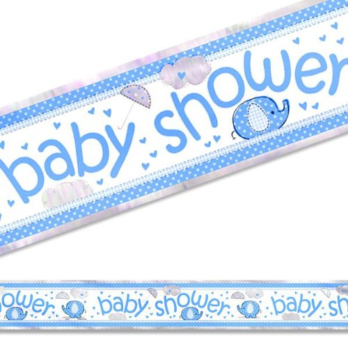 Elephant Baby Shower Foil Banner, 12-Feet, Blue, White And Gray