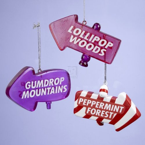 "Amazon.com - 3 5"" RESIN CANDYLAND DIRECTIONAL SIGN ORNAMENT, SET OF 3"