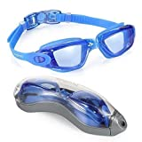 Aegend Swim Goggles, Swimming Goggles No Leaking Anti Fog UV Protection Triathlon Swim Goggles with Free Protection Case for Adult Men Women Youth Kids Child, Multiple Choice (Color: Blue Hawaii)