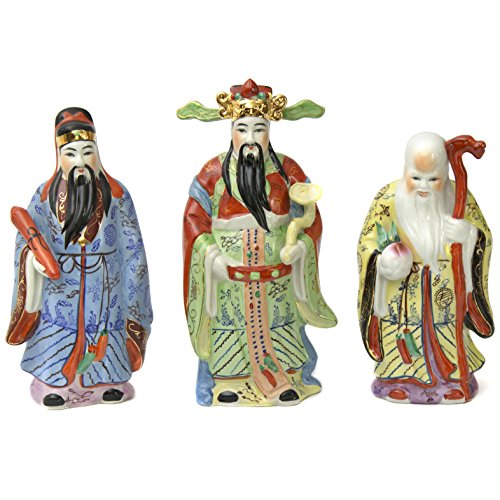 Oriental Furniture Traditional Asian Gifts Ideas, 8-Inch Oriental Ceramic Chinese Tao Lucky Star Gods Statues, Set of 3