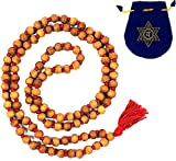 SANDALWOOD JAPA MALA BEADS ~ Knotted Yoga Meditation Prayer Beads w/ Anahata Mala Bag
