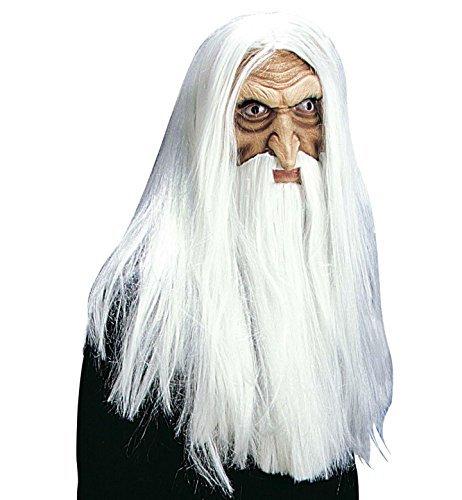 Merlin Magician Mask w/ Beard+Tash Wig for Fancy Dress Costumes & Outfits Accessory by WIDMANN (Merlin Wig And Beard Set)