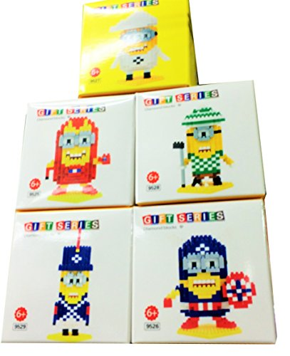 Minions Movies Despicable Me DIY Build Kit Doll Toy Building Sets Marvel Avengers Superheroes Professional Career Costume Nanoblocks 5 Blocks Set Gift with All Original Boxes
