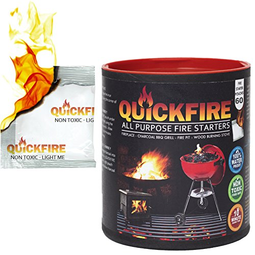 QuickFire, Instant Fire Starters. Voted #1 Camping And Charcoal BBQ Fire Starter of 2016. Waterproof, Odorless And Non-Toxic. (Medium - 60 Pouches) (Starter Wicking compare prices)