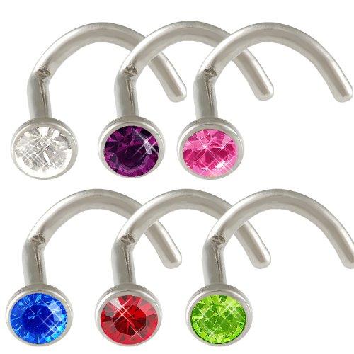 18g 18 gauge 1mm 7mm Steel nose rings studs screws bones bars Mix Crystals 6pcs DAGK Body Piercing Jewellery