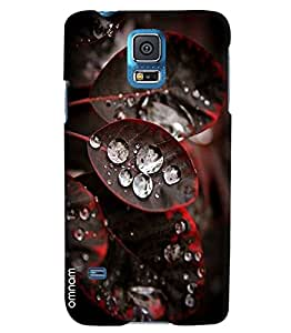 Omnam Black And Red Leaf With Water Drops On It Printed Designer Back Cover Case For Samsung Galaxy S5