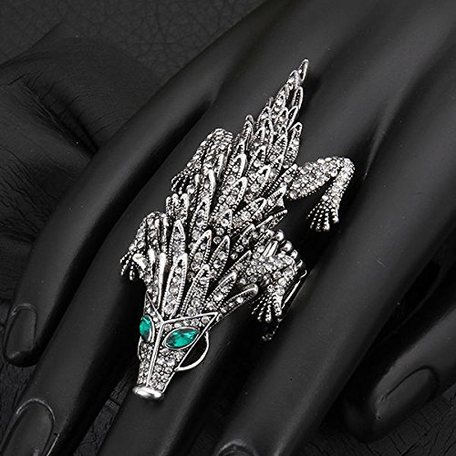 Chic Punk Rock Style Couple Jewelry Retro Silver Pangolin Gem Crystal Zircon Anel Circle Rings Fa