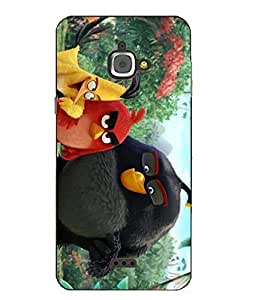 Snazzy Angry Bird Printed Colorful Hard Back Cover For InFocus M350