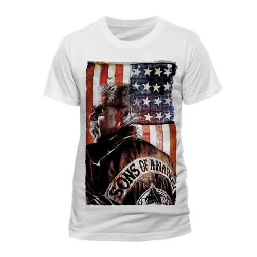 "Maglietta, motivo: ""Sons Of Anarchy"", colore: argilla Morrow stelle & strisce Montage 100% ufficiale bianco Large"