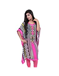 India Colors Pink Geometrical Printed Georget Kaftan With Cotton Inner